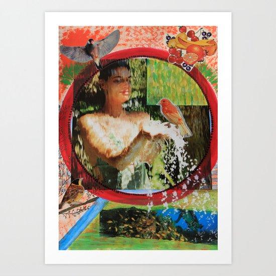 Behind the waterfall Art Print