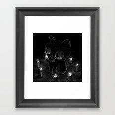 Drawlloween 2016: Black Cat Framed Art Print