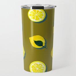 60s Lemon Pattern on Olive Travel Mug