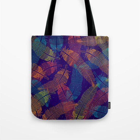 Neon Feathers Tote Bag