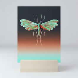 Tineidae Moth in Sea Green Mini Art Print