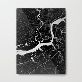 Philadelphia - Black and Silver Metal Print