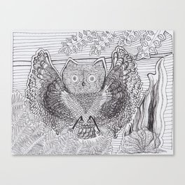 Adult Coloringbook Template Owl Canvas Print