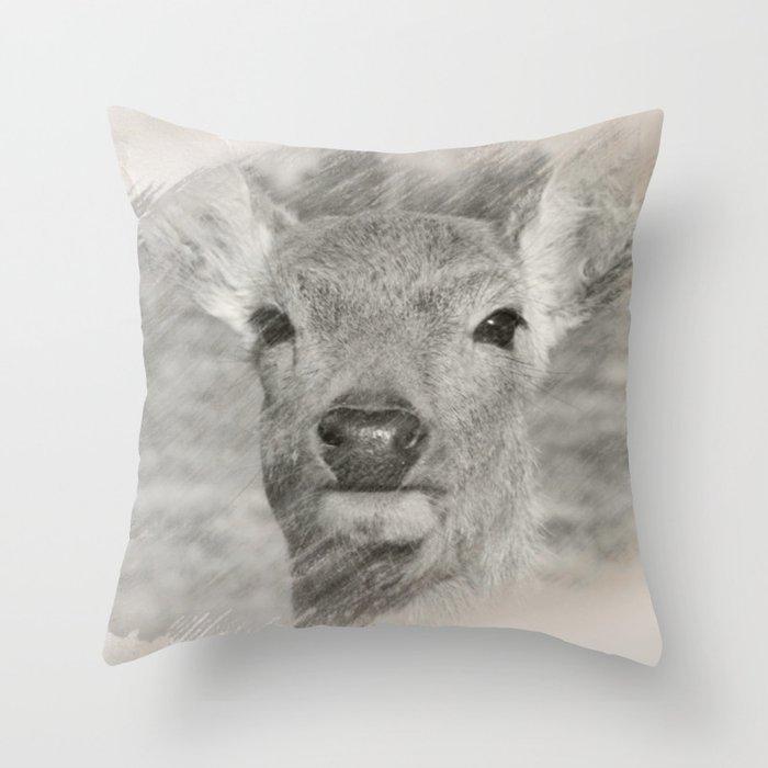 Charcoal baby deer Deko-Kissen