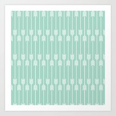 White Arrows on Mint Art Print