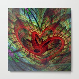 Entangled hearts, symbolic fractal abstract Metal Print