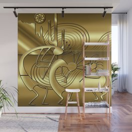 Magical Kokopelli in Gold Wall Mural