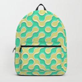 Yellow Deep Sea Green Truchet Tilling Pattern Backpack