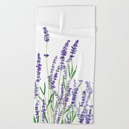 lavender watercolor horizontal Beach Towel