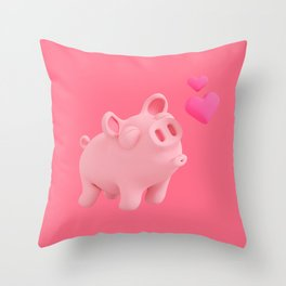 Rosa the Pig kisses Throw Pillow