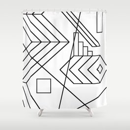 Normality - Black and white abstract geometric minimalism Shower Curtain