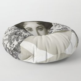 Elizabeth Taylor with Vintage Chantilly Lace Floor Pillow