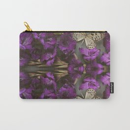 Indigo Flowers and Butterflies Carry-All Pouch