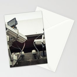 CCTV cameras on a wall for surveillance Stationery Cards