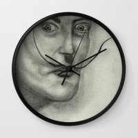 salvador dali Wall Clocks featuring Salvador Dali by Jennifer Lynn