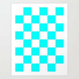 Large Checkered - White and Aqua Cyan Art Print