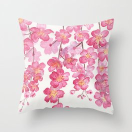 Weeping Cherry Blossom Throw Pillow