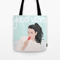 good vibes Tote Bags featuring Good Vibes by Elly Liyana