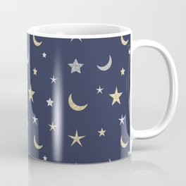 Gold and silver moon and star pattern on navy blue background Coffee Mug