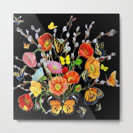 Black Butterfly Bouquet  Metal Print