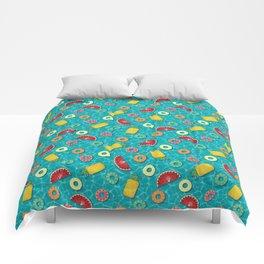 Fruit Salad Pool Floats Pattern – Turquoise Comforters