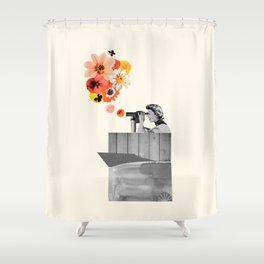 in bloom (black & white) Shower Curtain