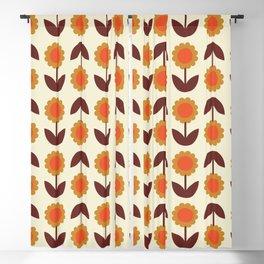 Retro 70s Wallpaper Flowers Blackout Curtain