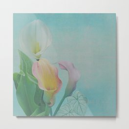 Painterly Calla flowers and leaves Metal Print