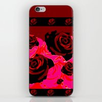 50s iPhone & iPod Skins featuring 50s ROSES BLACK PRINT by Marmalademudpie and Me