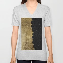 Faux Gold & Black Starry Night Brushstrokes Unisex V-Neck
