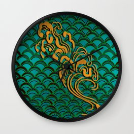 Fishscales Green Wall Clock