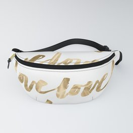 Gold Love Quote Pattern Typography Script Fanny Pack