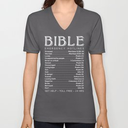 Bible Hotline Emergency Numbers Unisex V-Neck