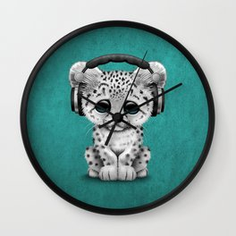Cute Snow leopard Cub Dj Wearing Headphones on Blue Wall Clock