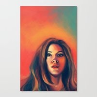 amy pond Canvas Prints featuring Amy Pond by Alexia Bonfield