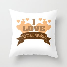 """Best combination ever in one tee! Grab this fabulous """"Chocolate and Bacon Lover"""" tee now!  Throw Pillow"""