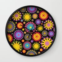 Bright And Colorful Flowers Wall Clock