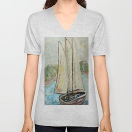On a Cloudy Day - Impressionistic Art Unisex V-Neck