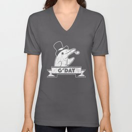 G'Day Greeting Top Hat Dolphin Unisex V-Neck
