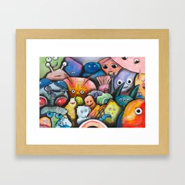 Multiple Personalities Taking a Selfie Framed Art Print