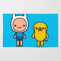 finn and jake Area & Throw Rugs featuring #48 Jake and Finn by Brownjames Prints