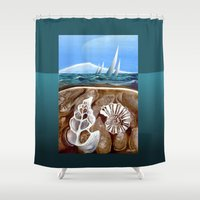 geology Shower Curtains featuring The Geology of Boating by Patricia Howitt