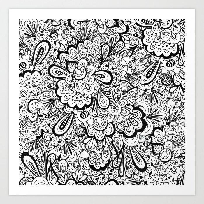 summer flower doodle Art Print by elissaiatridis