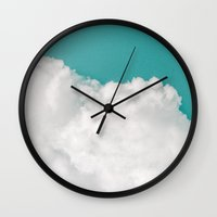 clouds Wall Clocks featuring Dreaming Of Mountains by Tordis Kayma
