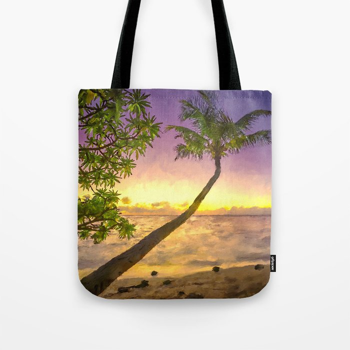 Tropical sunset beach with palms Tote Bag
