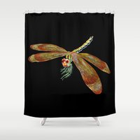 dragonfly Shower Curtains featuring Dragonfly by Tim Jeffs Art