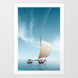 Gone fishing - Sailing seven seas Art Print