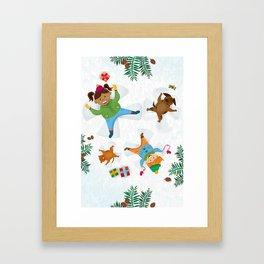 Snow fun Framed Art Print