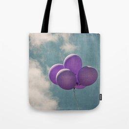 Vintage Inspired Purple Balloons In Blue Sky Tote Bag