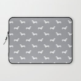 Dachshund pattern minimal grey and white dog lover home decor gifts accessories silhouette Laptop Sleeve